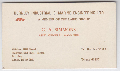 Burnley Engineering Products - BIME Business Card