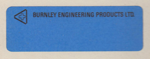Burnley Engineering Products - Product Label