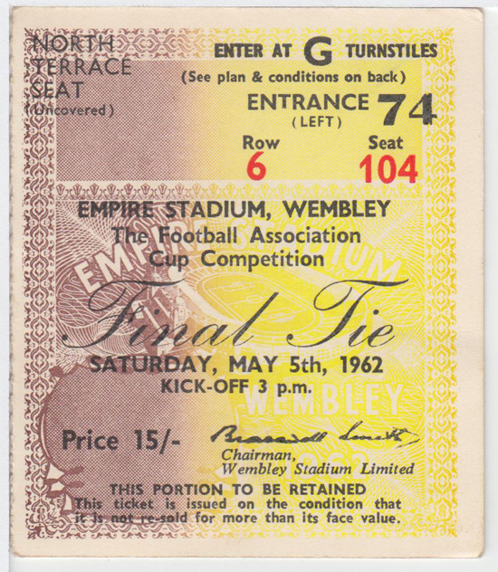 Burnley Ticket - 1962 FA Cup Final